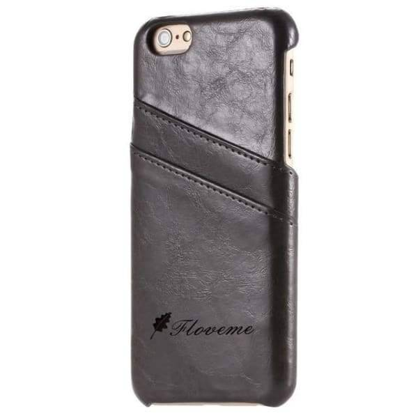 Iphone Card Holder Cover For Iphone X /8 /7 Plus /5 /5S /6 /6S Plus - Black Grey / China / For Iphone 6 6S - Iphone Cases & Bags -