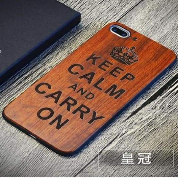 Keep Calm Wooden Case - As Picture 2 / For Iphone 7 8 - Iphone Cases & Bags - Paidcellphone