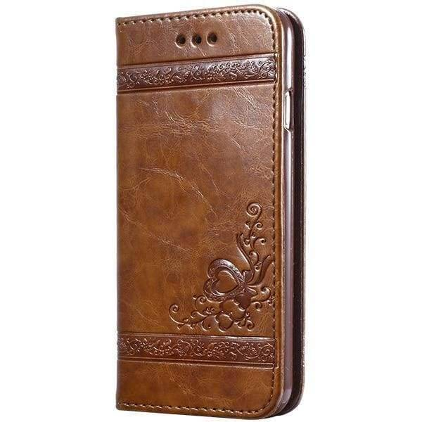 Leather Wallet Cases For Iphone X - Light Brown Case - Iphone Cases & Bags - Paidcellphone