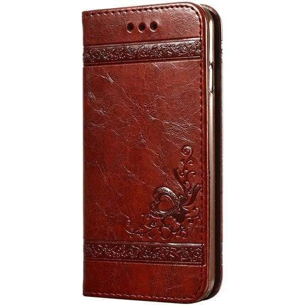 Leather Wallet Cases For Iphone X - Dark Brown Case - Iphone Cases & Bags - Paidcellphone
