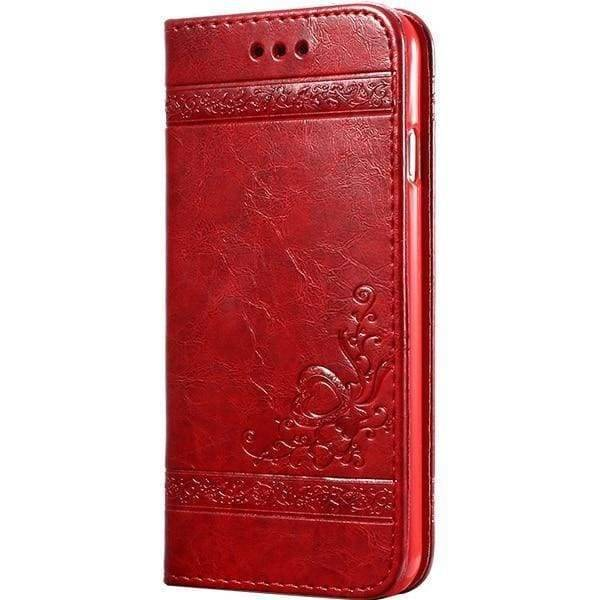 Leather Wallet Cases For Iphone X - Red Case - Iphone Cases & Bags - Paidcellphone