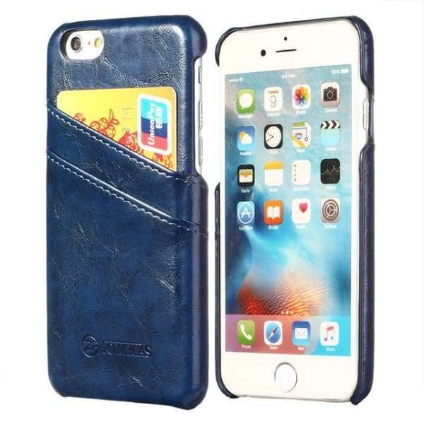 Leather With Card Holder Back Cover For Apple Iphone 7 / 7 Plus - Blue / For Iphone 7 - Iphone Cases & Bags - Paidcellphone