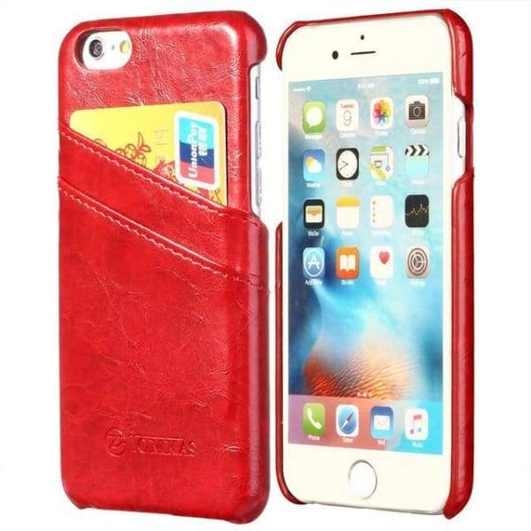Leather With Card Holder Back Cover For Apple Iphone 7 / 7 Plus - Red / For Iphone 7 - Iphone Cases & Bags - Paidcellphone
