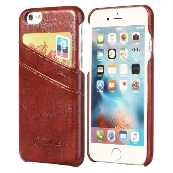 Leather With Card Holder Back Cover For Apple Iphone 7 / 7 Plus - Brown / For Iphone 7 - Iphone Cases & Bags - Paidcellphone