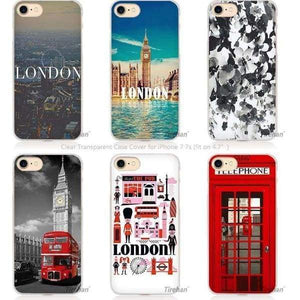 London Transparent Iphone Case For Iphone 4 /4S /5 /5S Se 5C /6 6S /7 Plus - Iphone Cases & Bags - Paidcellphone