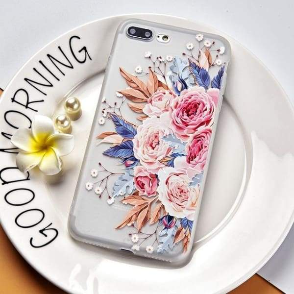 Luxury Silicone 3D Floral Case For Iphone X/7/8/ 6(S) Plus - Style 1 / For Iphone X - Iphone Cases & Bags - Paidcellphone
