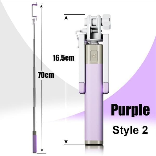 Mini Selfie Stick For Iphone 6 /5 - Style 2 Purple - Selfie Stick - Paidcellphone