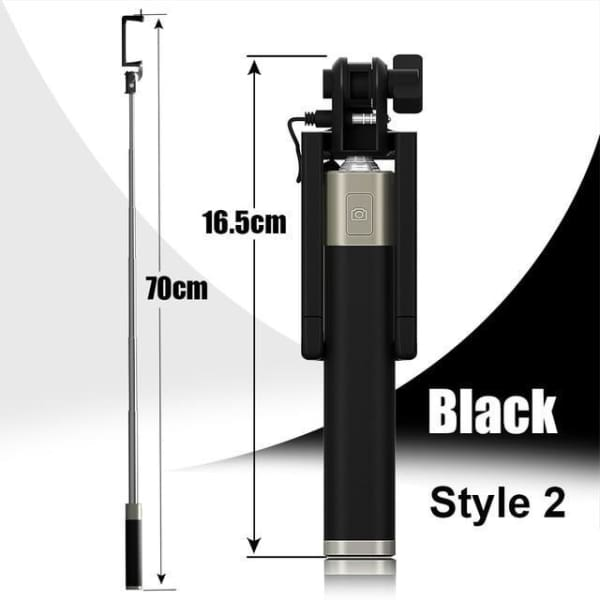 Mini Selfie Stick For Iphone 6 /5 - Style 2 Black - Selfie Stick - Paidcellphone