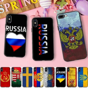 Russia |Brazil |Usa |Uk |Spain |Israel |Turkey Soft Silicone Iphone Case For Iphone X /5 S 5S /6 6S /7 /8 Plus - Iphone Cases & Bags -