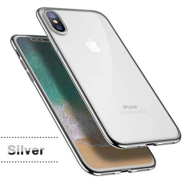 Silicon Cover Plating Case For Iphone X 7/8 Plus - Silver / For Iphone X - Iphone Cases & Bags - Paidcellphone