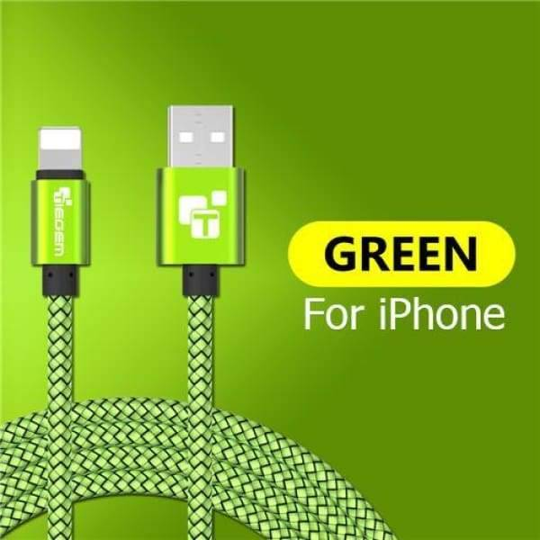 Usb Charger Cable For Iphone 5 /5S /6 /6S /x /ipad - China / Green / 1M - Chargers & Cables - Paidcellphone