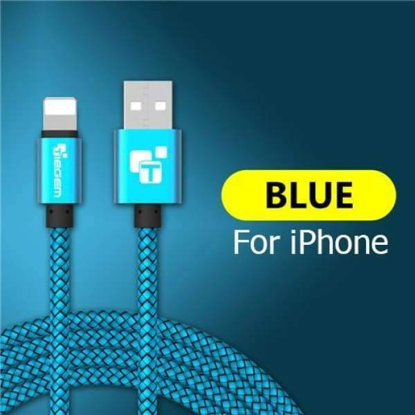 Usb Charger Cable For Iphone 5 /5S /6 /6S /x /ipad - China / Blue / 1M - Chargers & Cables - Paidcellphone