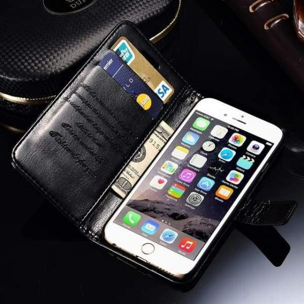 Wallet Leather Case For Iphone 6/ 6S Plus Luxury Coque Cover - Black Case / For Iphone 6 6S - Iphone Cases & Bags - Paidcellphone