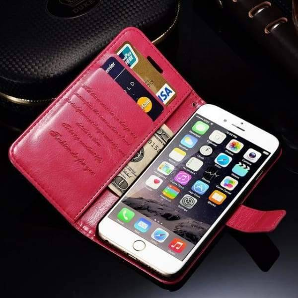 Wallet Leather Case For Iphone 6/ 6S Plus Luxury Coque Cover - Rose Case / For Iphone 6 6S - Iphone Cases & Bags - Paidcellphone