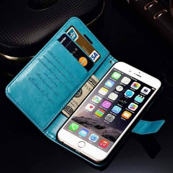Wallet Leather Case For Iphone 6/ 6S Plus Luxury Coque Cover - Blue Case / For Iphone 6 6S - Iphone Cases & Bags - Paidcellphone