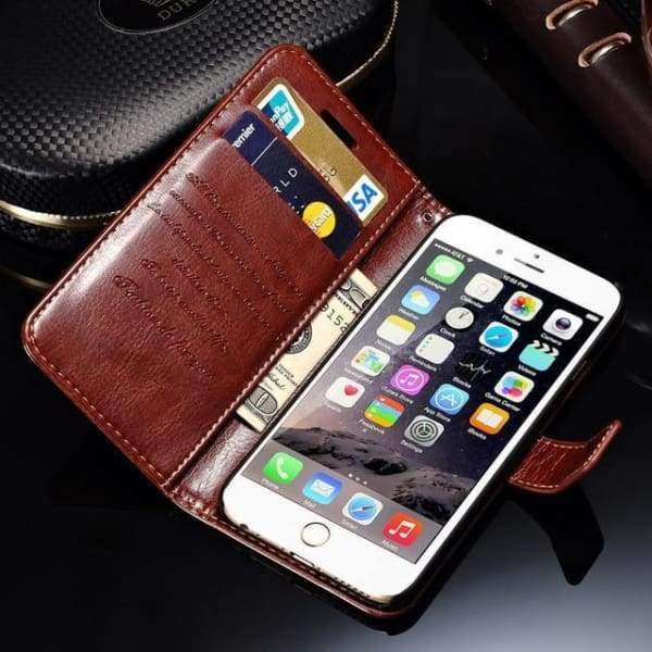 Wallet Leather Case For Iphone 6/ 6S Plus Luxury Coque Cover - Brown Case / For Iphone 6 6S - Iphone Cases & Bags - Paidcellphone