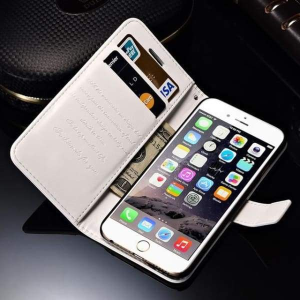 Wallet Leather Case For Iphone 6/ 6S Plus Luxury Coque Cover - White Case / For Iphone 6 6S - Iphone Cases & Bags - Paidcellphone