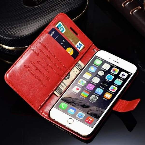 Wallet Leather Case For Iphone 6/ 6S Plus Luxury Coque Cover - Red Case / For Iphone 6 6S - Iphone Cases & Bags - Paidcellphone