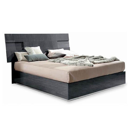 platform bed in grey high-gloss finish