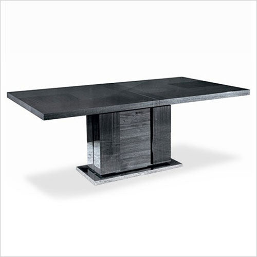dining table in grey high-gloss finish