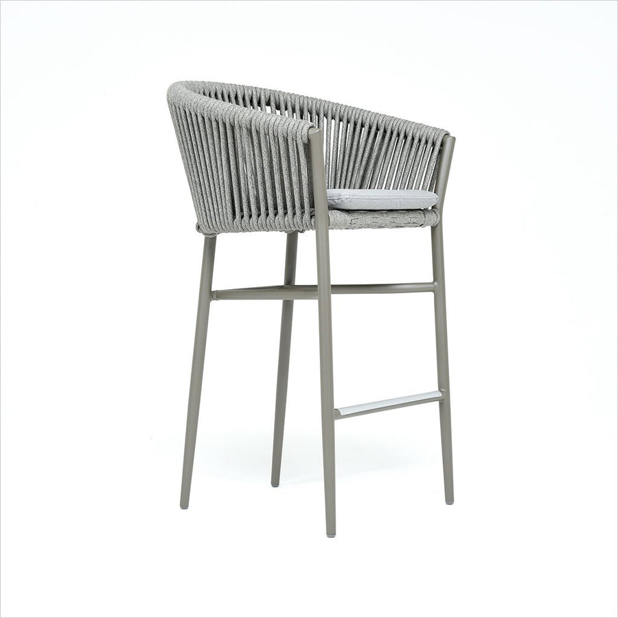 barstool with woven rope on metal frame