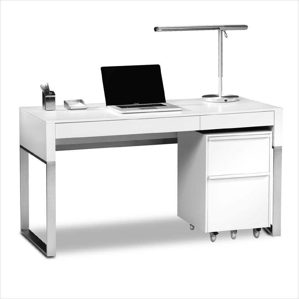 white desk with white mobile file unit