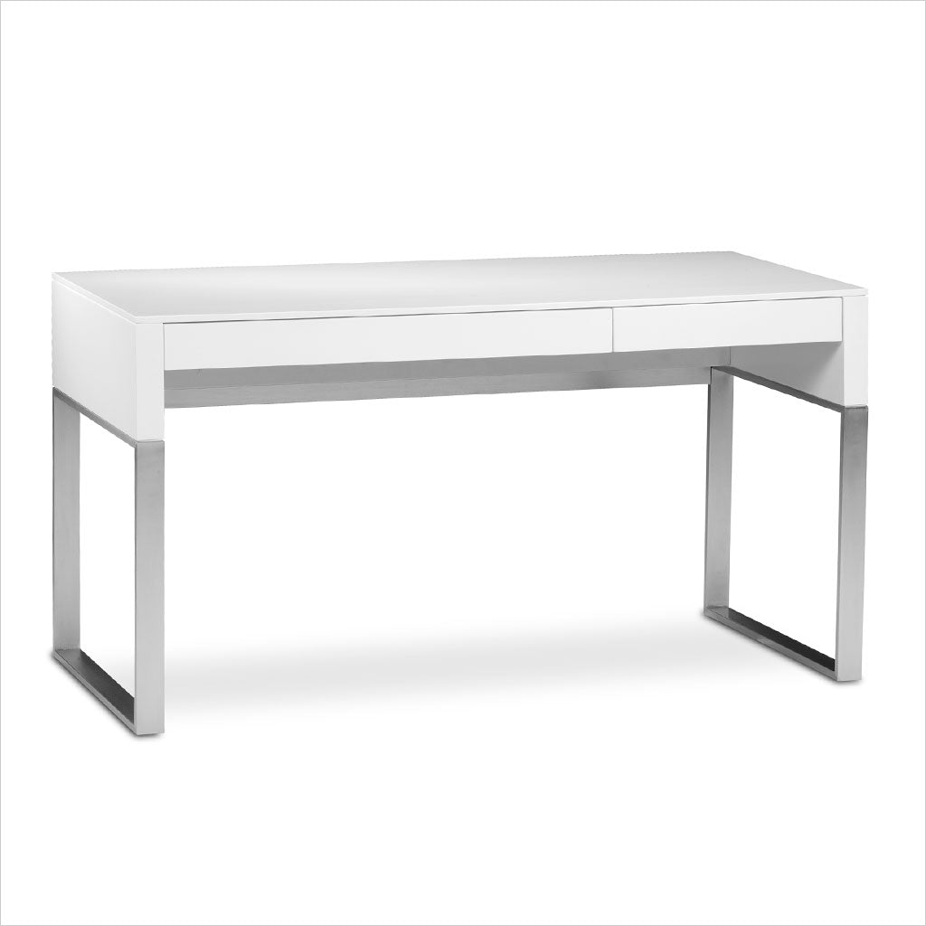 white desk with metal legs