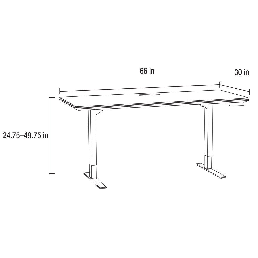 schematic of adjustable desk with glass top