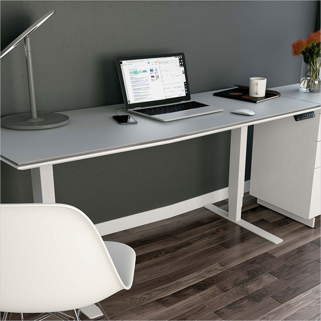 adjustable desk with grey glass top and white legs