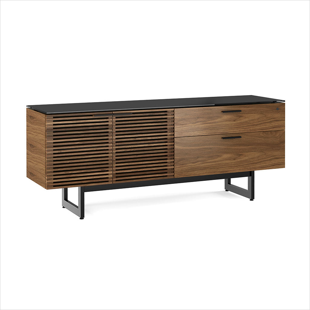 credenza with micro-etched glass top