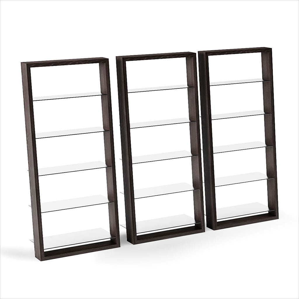 leaning bookcase with glass shelves