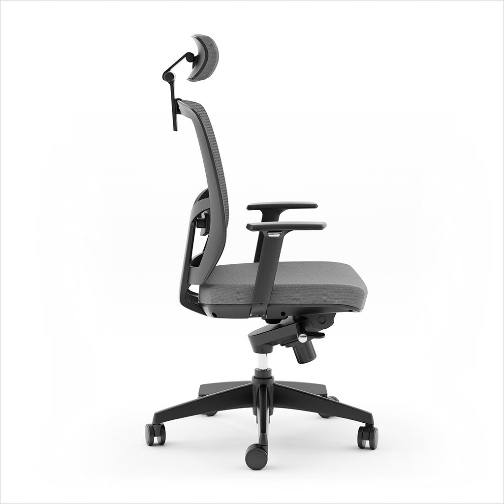 high-back office chair with mesh back