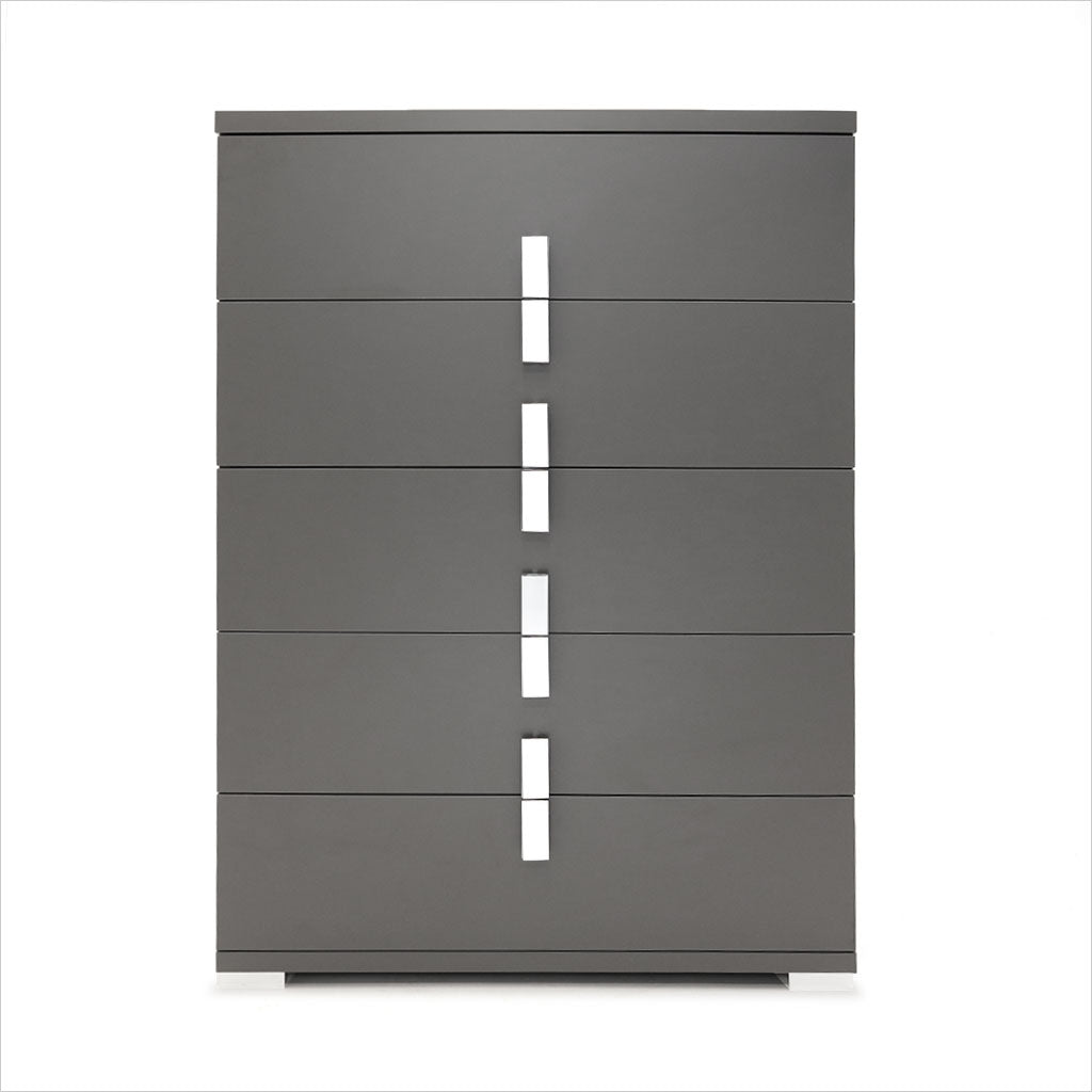 grey high chest with metal accents