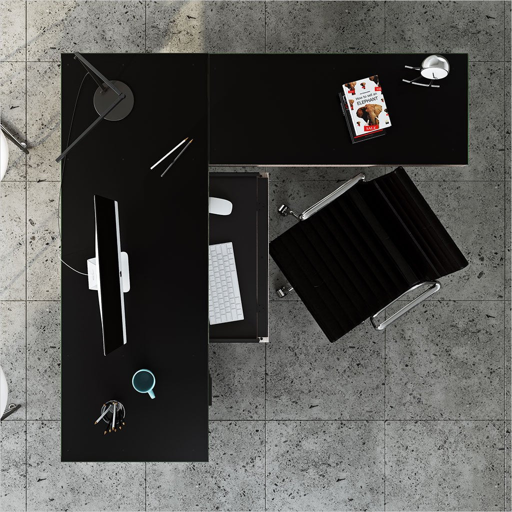 grey return with black satin-etched glass work surface