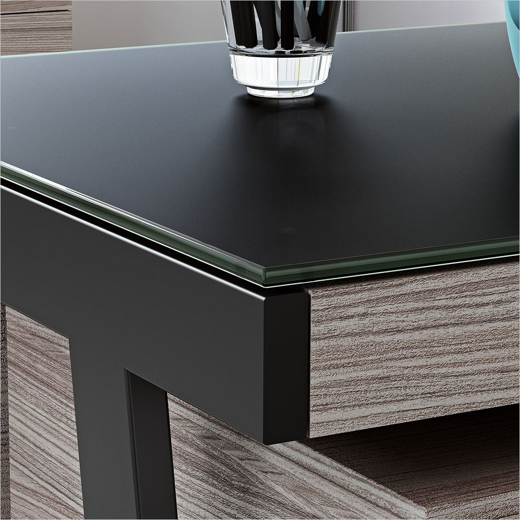 grey desk with black satin-etched glass work surface