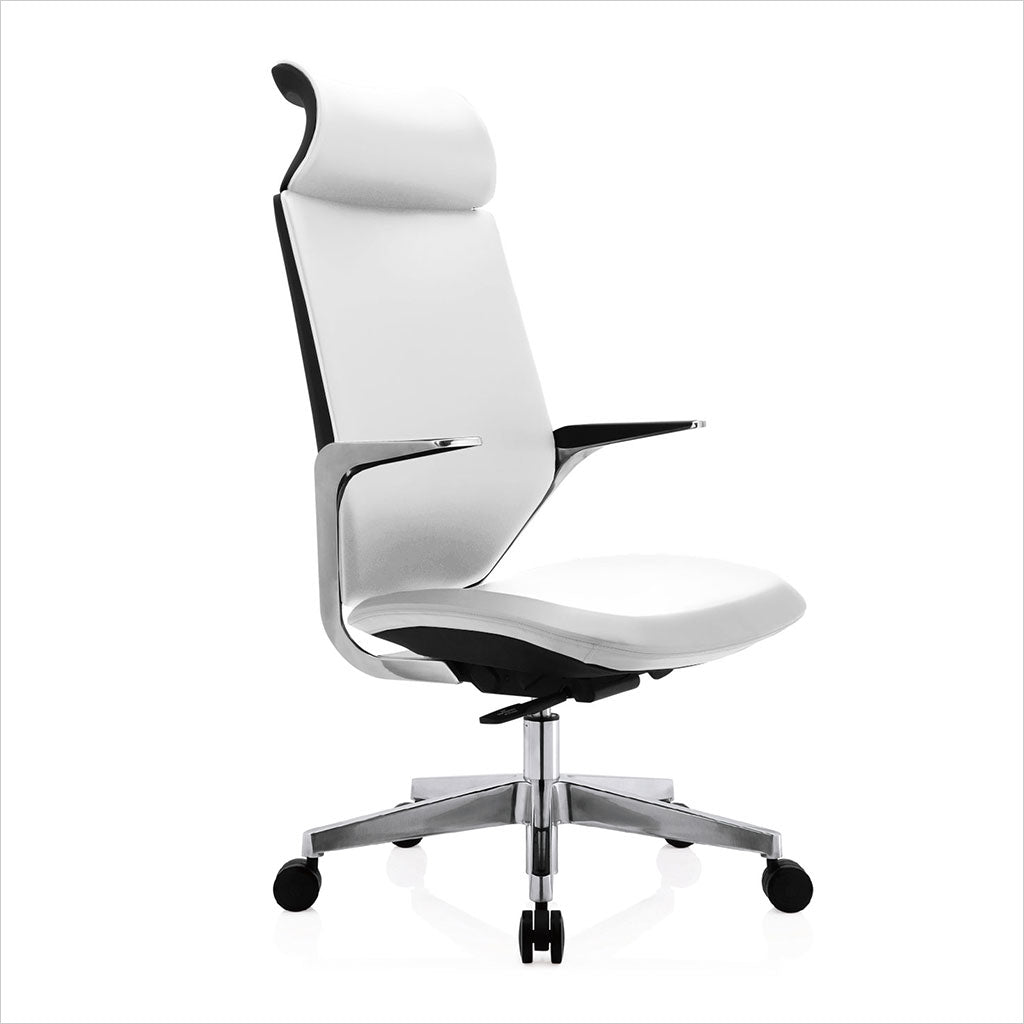 high-back office chair with white eco-pele