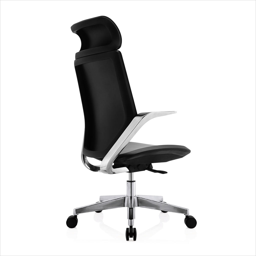 high-back office chair with black eco-pele