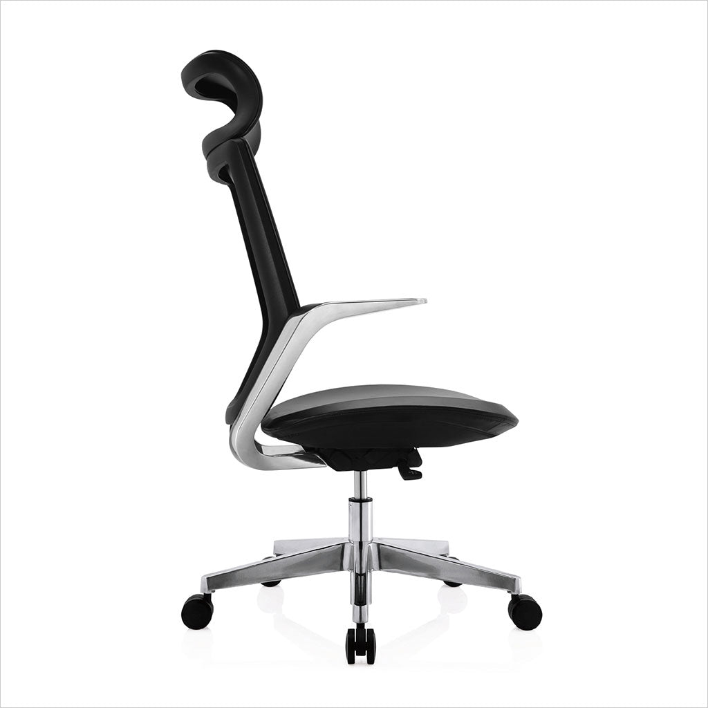 high-back desk chair with blue eco-pele