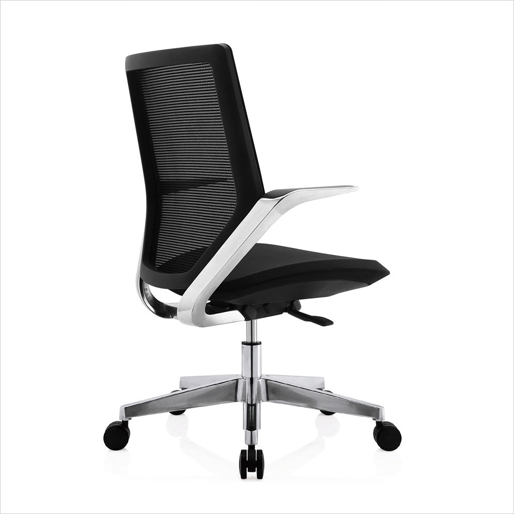 low-back desk chair with mesh back