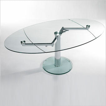 EXP Dining Table oval glass and metal with leaves Scan Design
