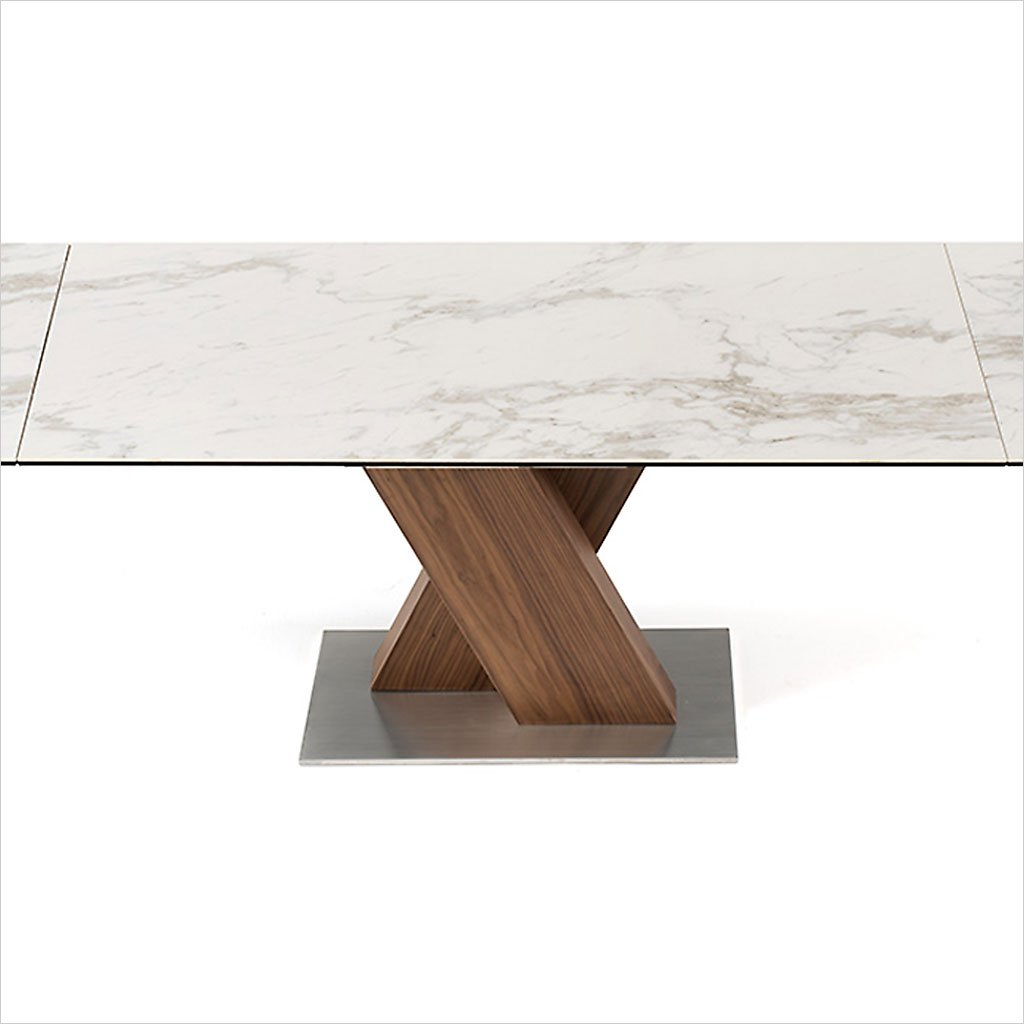 ceramic top dining table with expandable top and walnut veneered base