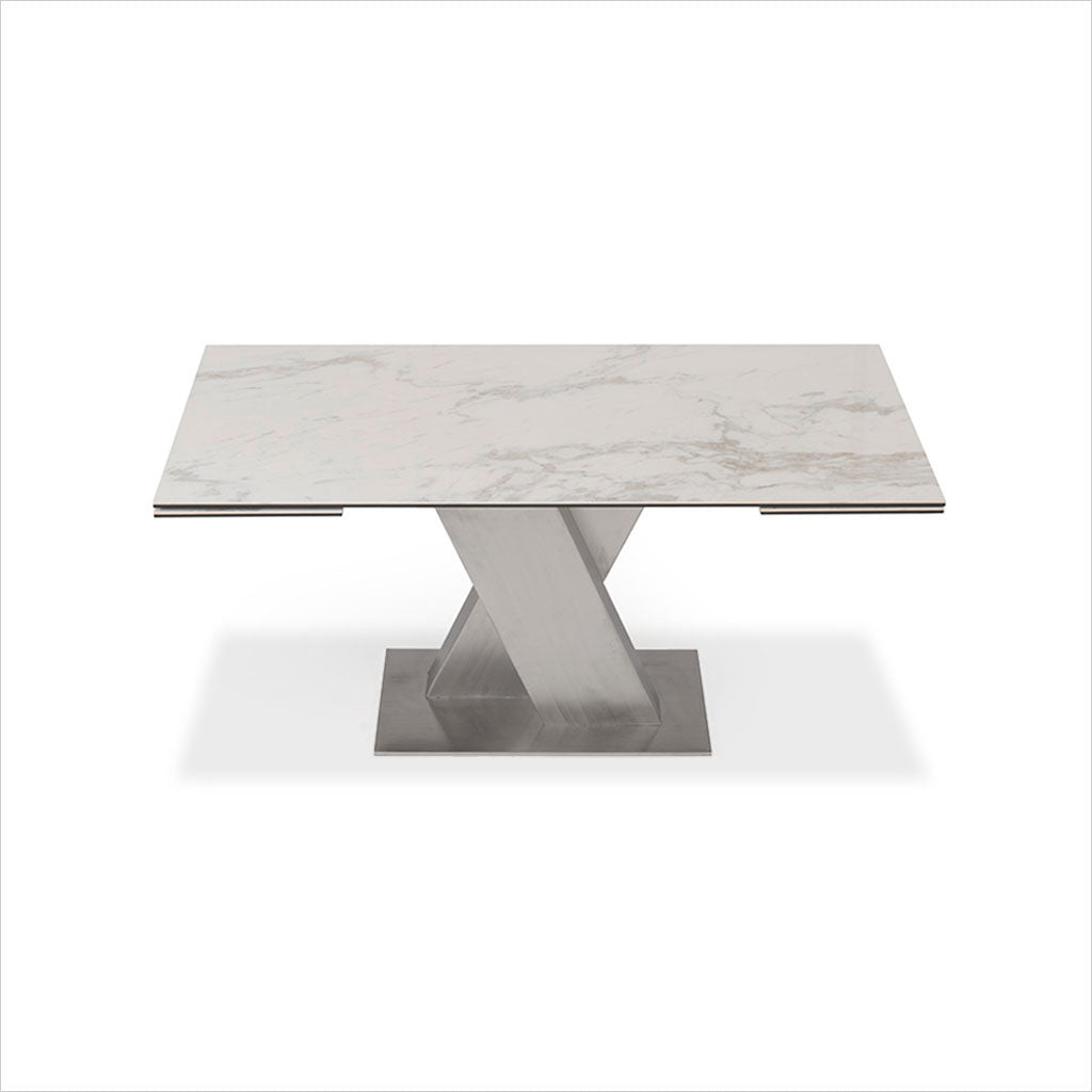 ceramic top dining table with expandable top and brushed stainless steel base