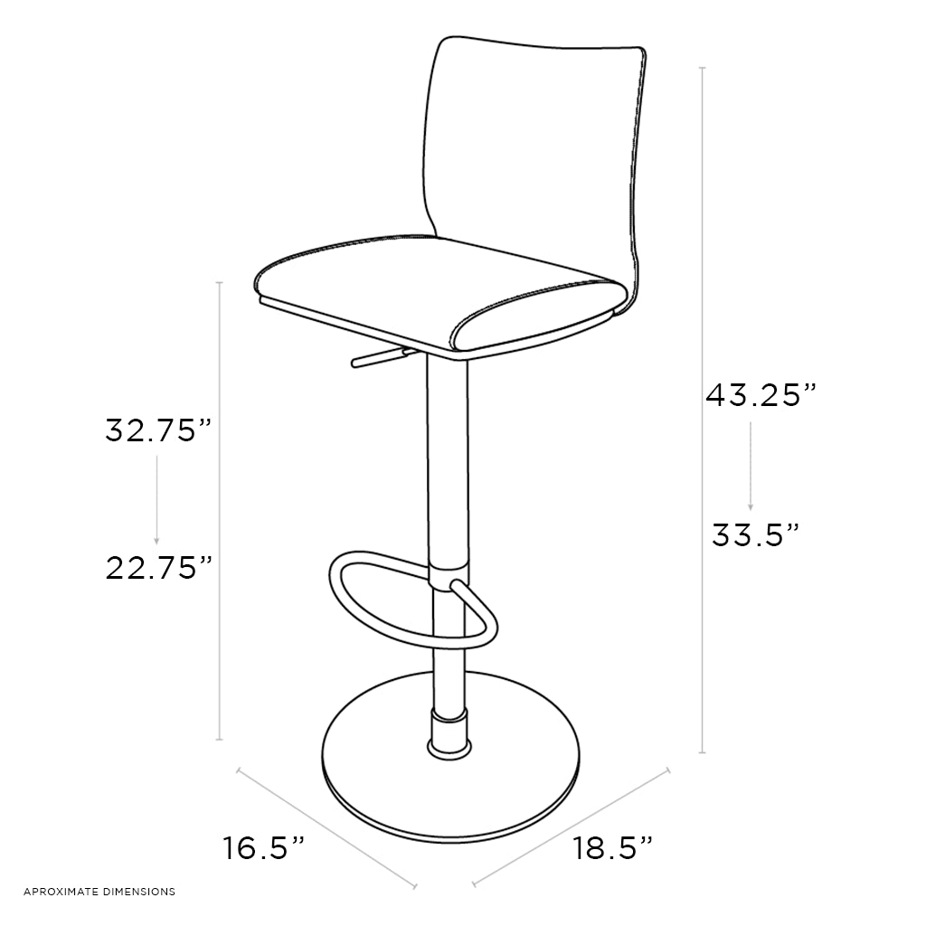 schematic of adjustable barstool with pedestal base and leather seating