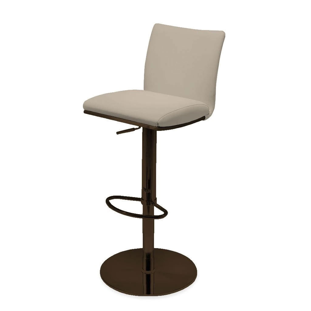 adjustable barstool with pedestal base and leather seating