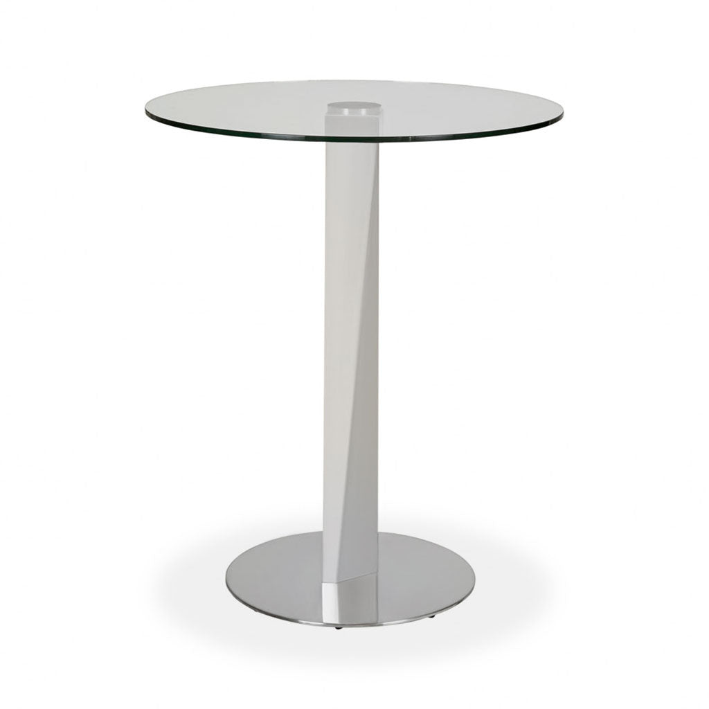 round glass top pub table with metal pedestal base