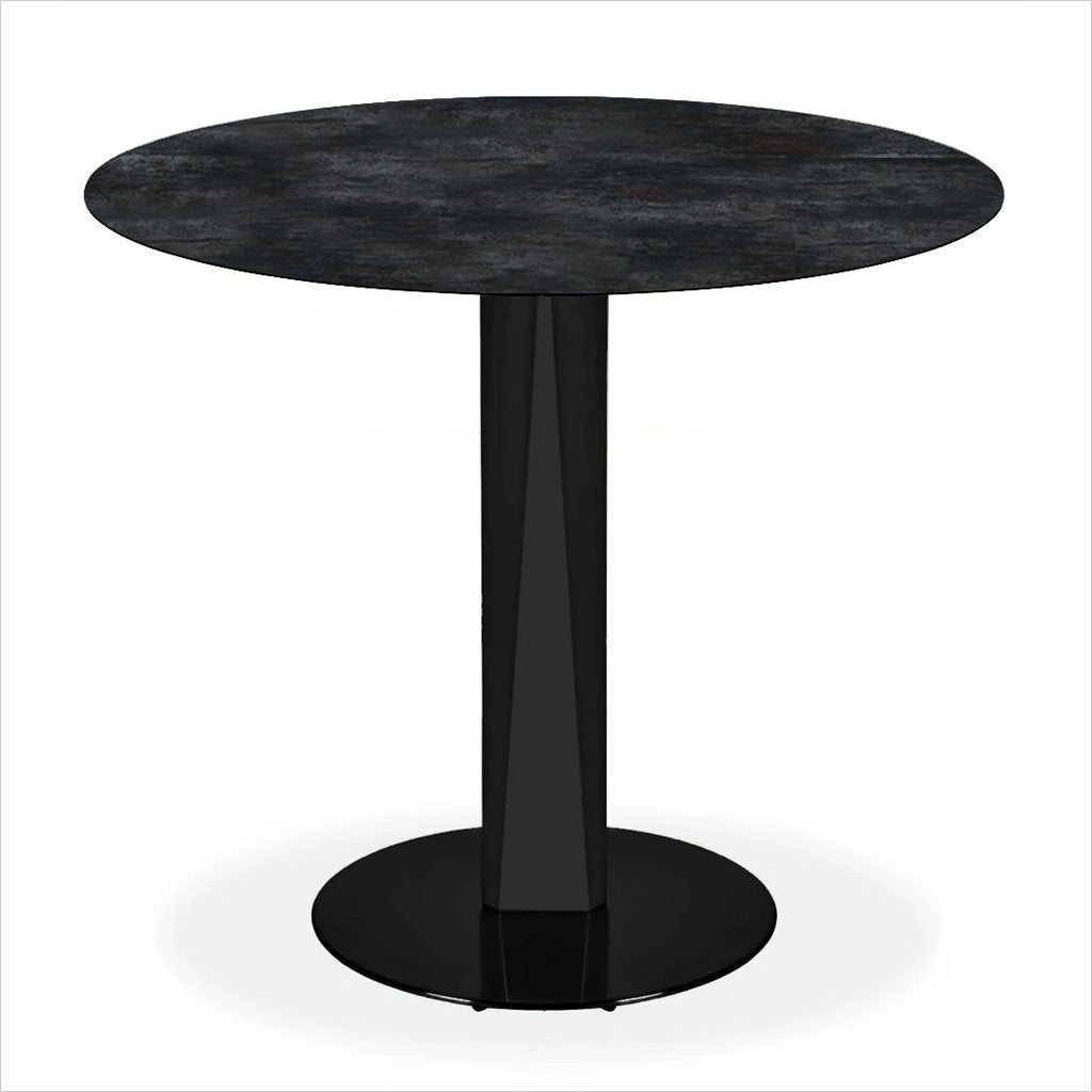 round ceramic glass top counter table with metal pedestal base