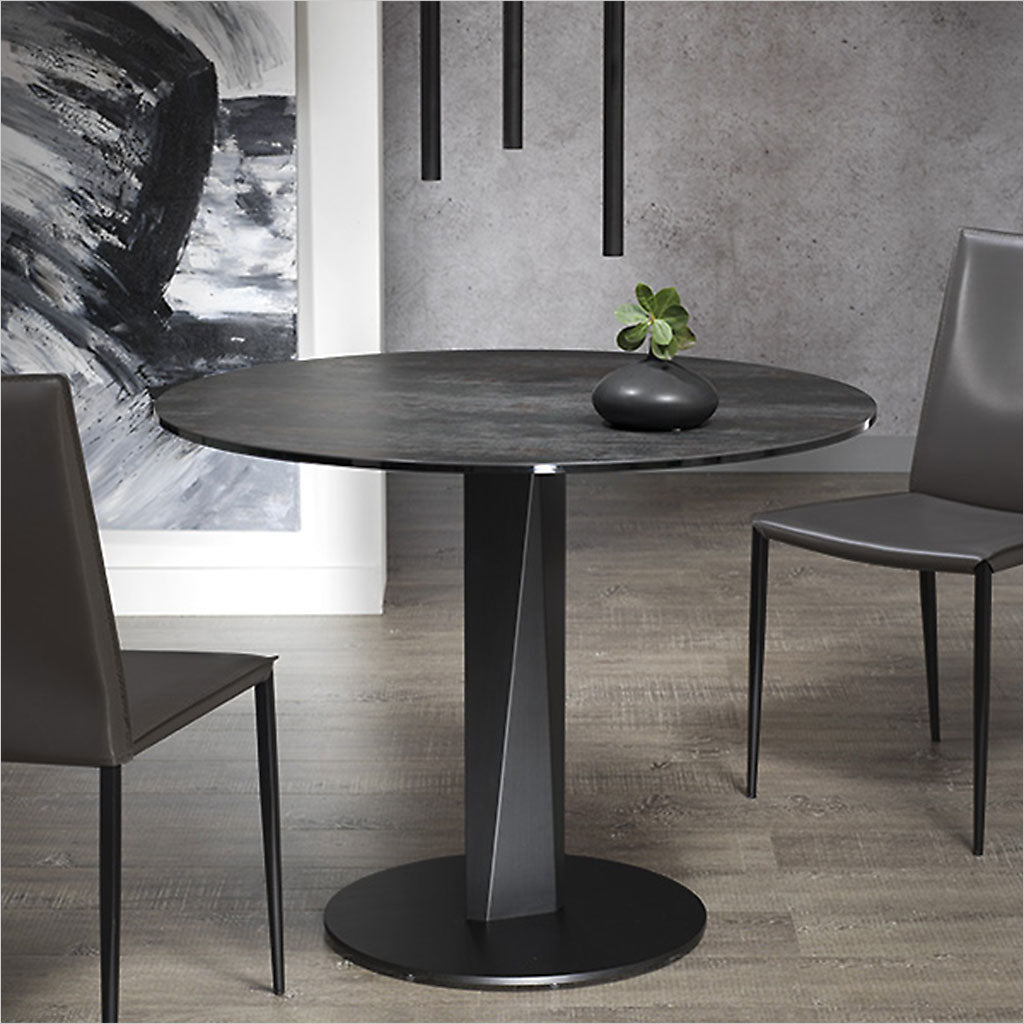 round ceramic glass top table with metal pedestal base
