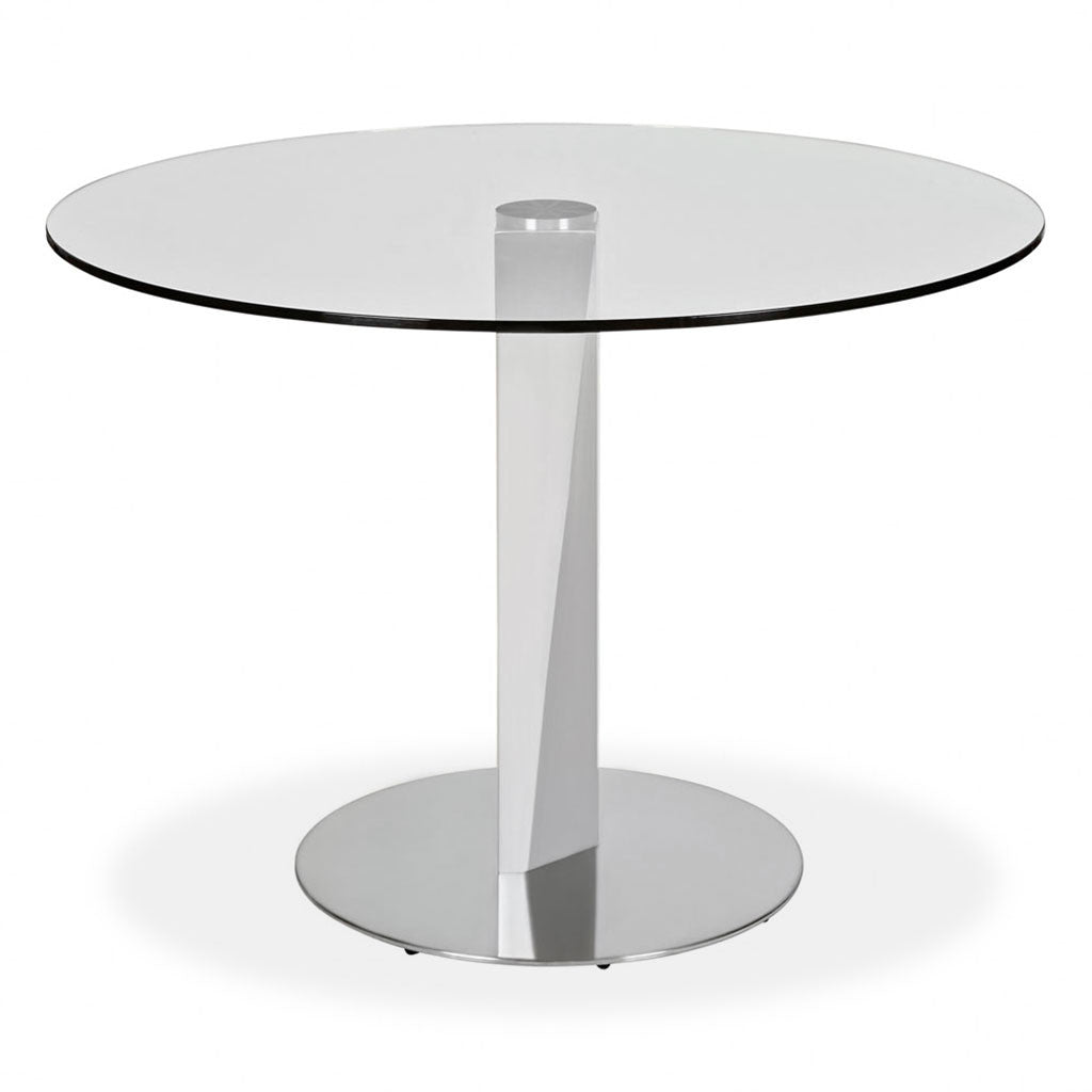 round glass top table with metal pedestal base