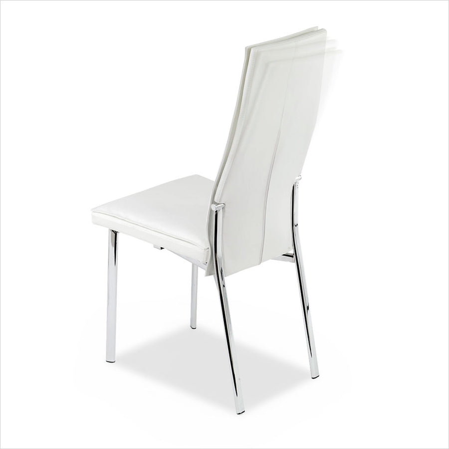 high back dining chair with leather seat and back on metal legs