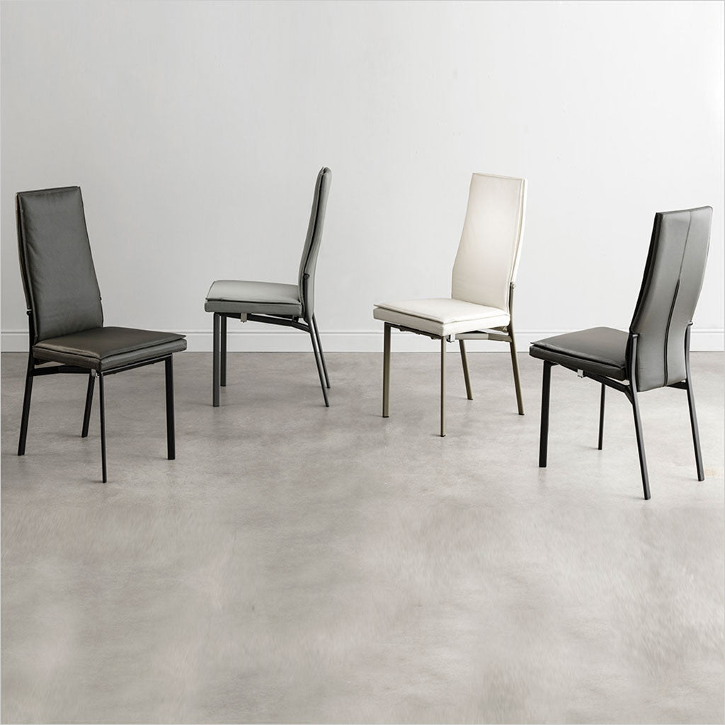 high back dining chairs with leather seat and back on metal legs